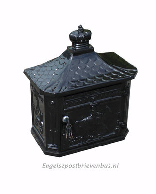 Engelse Brievenbus Wandmodel - Zwart
