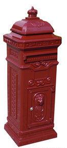 Engelse Kolom Brievenbus Aluminium - Rood