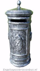 Engelse Brievenbus Rond - Grijs/Zilver